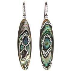 Arunashi abalone shell earrings with micro pave diamonds