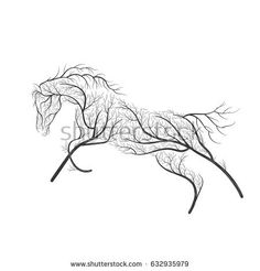 Concept horse jumping stylized bush for use on cards, in printing, posters, invitations, web design and other purposes