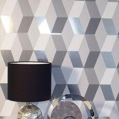 A striking geometric metallic wallpaper design in silver/grey from the Mayfair Wallpaper Collection. Go Wallpaper UK stock a wide range of Crown Wallpaper. Brick Effect Wallpaper, Metallic Wallpaper, Luxury Wallpaper, Contemporary Wallpaper, Tree Wallpaper, Specialist Paint, Little Greene Paint, Stunning Wallpapers, Paint Brands