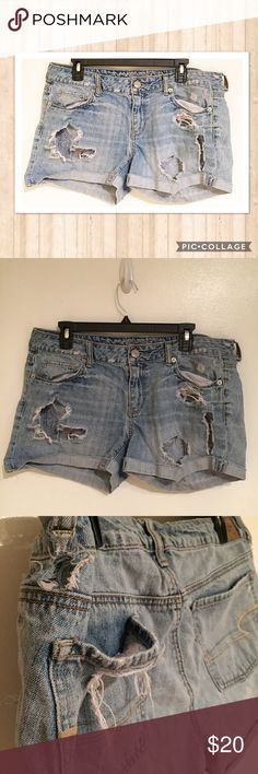 American Eagle Super Distressed Denim Shorts American Eagle Outfitters super distressed denim shorts. Lots of rips and holes. Perfect for wearing over a Swimsuit to the beach. Size 14. #americaneagle #americaneagleoutfitters #aeo #denim #distressed #shorts #classic #basic #staple #punkydoodle  No modeling  Smoke free home  I do discount bundles American Eagle Outfitters Shorts Jean Shorts