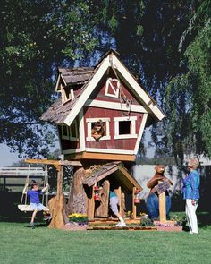 This Popeye village looking tree house is the most fun play house for the little ones to play in. It is set on two floors and it even has a cool attic to hide from the rest of the world.