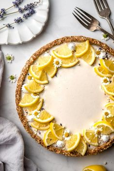 No-bake Lemon Lavender Tart - Delight Fuel gluten free dairy free Raw Desserts, Dessert Recipes, Lemon Desserts, Plated Desserts, Culinary Lavender, Sweet Recipes, Tart Recipes, Oven Recipes, Food Processor Recipes