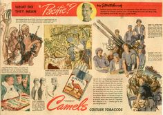 """What do they mean : """"Pacific"""" ? Vintage Advertisements, Vintage Ads, Watercolor Video, Sketch 2, World War Two, Ephemera, Wwii, Effort, Smoking"""