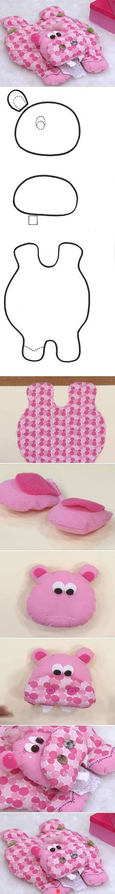 DIY Hippo Pillow diy sew crafts diy crafts sewing kids crafts how to tutorial sewing tutorials sewing crafts crafts for kids Fabric Toys, Fabric Crafts, Sewing Crafts, Sewing Projects, Diy Projects, Animal Projects, Sewing Pillows, Diy Pillows, Pillow Ideas