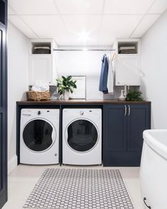 37 Beautiful Small Laundry Room Makeover Ideas - Its one of the most used rooms in the house but it never gets a makeover. What room is it? The laundry room. Almost every home has a laundry room and . White Laundry Rooms, Modern Laundry Rooms, Laundry In Bathroom, Laundry Decor, Small Bathroom, Laundry Closet, Vintage Laundry Rooms, Bathroom Ideas, Laundry Nook