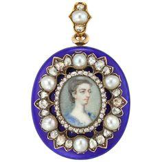 Pearl Diamond, Rose Cut Diamond, Antique Locket, Miniature Portraits, Her Majesty The Queen, Gold Locket, 18th Century, Brooch Pin, 18k Gold