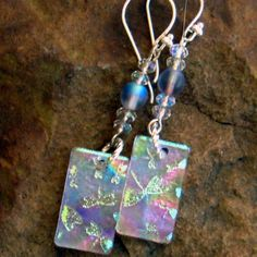 Dichroic Fused Glass Drop Earrings  Rainbow by GlassCat on Etsy, $24.00