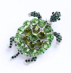 Turtle Brooch Crystal Green Turtle Broach by PinkFoxFindings