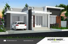 Small 3 bedroom house plan is the new contemporary style house design from Homeinner design team.The small low cost 997 sq ft single floor home design incl Low Cost House Plans, Free House Plans, Small House Plans, Indian Home Design, Kerala House Design, Home Design Images, Home Design Plans, Modern Exterior House Designs, Modern House Design