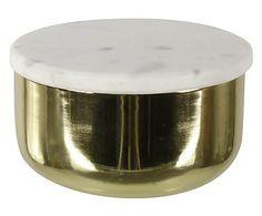 Boîte acier et marbre, doré et blanc - Ø12
