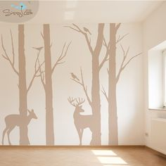 Wall decals brings a completely new fashion of decor inside your bedroom. With this bedroom wall decals and wallpaper for bedroom gallery ideas, you're able to revamp your home. Baby Boy Rooms, Baby Boy Nurseries, Baby Room, Wall Decals For Bedroom, Woodland Nursery, Deer Nursery, Cabin Nursery, Brown Nursery, Forest Nursery
