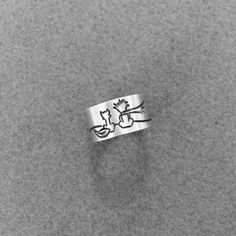 Friendship Silver Ring with the Little Prince - adjustable ring, Wideband ring…