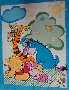 WINNIE the POOH Fabric - Pooh Piglet Eeyore Quilt Blanket Wall Hanging Cheater Panel OOP