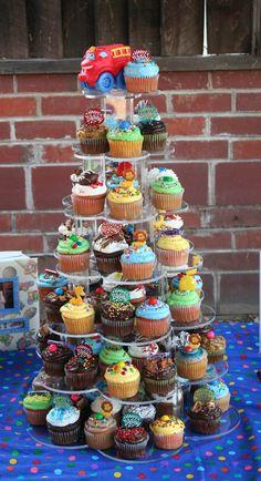 1st birthday cupcake tower #car/truck#theme