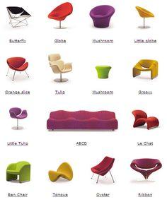 Toutes les créations (ou presque) du designer français Pierre Paulin réunies dans un visuel