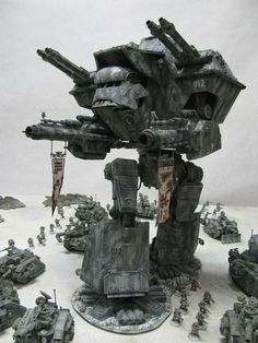 Scratch built warlord Titan, miniatures at feet are approximately 28mm tall.