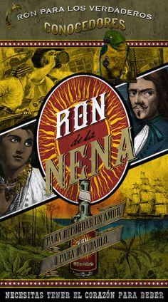 RON DE LA NENA size 50x90 cm printed on BLUE BACK  #ron #pirates #lanena #tortuga #oldposter #print
