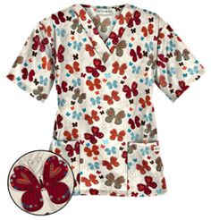 UA Butterfly Bounty Coffee Bean Print Scrub Top Your heart will flutter for this V-neck butterfly print scrub top. Red Scrubs, Uniform Advantage, Medical Scrubs, Coffee Scrub, Scrub Tops, Butterfly Print, Shades Of Red, Coffee Beans, Classic Looks