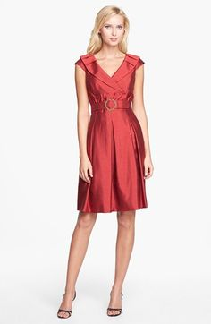 Tahari Shantung Fit & Flare Dress available at #Nordstrom - versatile enough for evening/semi-formal or work
