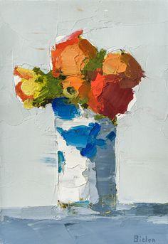 "Stanley Bielen, Bright Blossoms / Tumbler, 2012, oil on prepared panel, 8 x 5 1/2"""