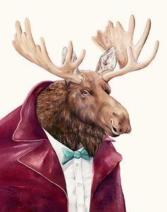 Moose art prints on Etsy, $17.00