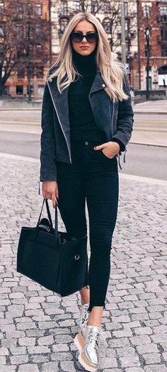 black on black_biker jacket + sweater + bag + skinnies + boots