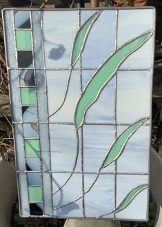 Light Mint Green, White Light, Glass Kitchen, Glass Panels, Wooden Frames, Stained Glass, My Design, Blue And White, Leaves