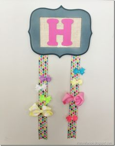DIY Bow Holder:  Frame, scrap fabric, wooden letter, ribbon