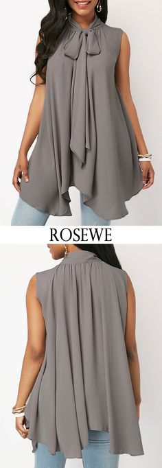 Sleeveless Asymmetric Hem Tie Neck Blouse.#Rosewe#top#fashion