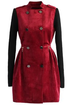 Classy Contrast Double-breasted Suede Coat in Wine - Tops - Retro, Indie and Unique Fashion