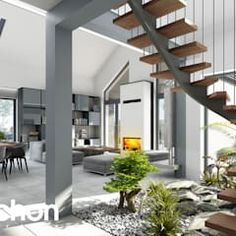 Modern conservatory by archon+ projekty domów modern Bungalow Haus Design, Modern Bungalow House, House Design, House Layout Plans, Dream House Plans, House Layouts, Modern Conservatory, Kitchen Units, Home Projects