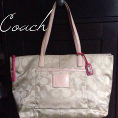 Coach tote! Great condition. khakis, nylon signature tote!! Coach Bags