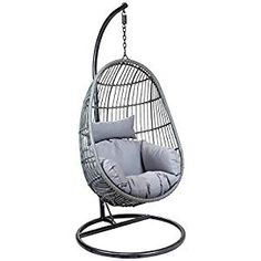 IN STOCK: best prices on Charles Bentley Hanging Egg Shaped Rattan Swing Chair With Cushion - Grey - choose between 34 Garden swing seat Rattan Egg Chair, Egg Swing Chair, Hanging Egg Chair, Hammock Chair, Swinging Chair, Chair Cushions, Swing Chairs, Wicker, Garden Swing Seat