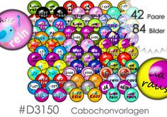 """Cabochonbilder Cabochon Vorlagen Download Cabochon Cabochongrafiken  *""""hier rein - da raus""""* *""""ja - nein""""* *""""bla - bla """"* und andere.   84 Bilder = 42 verschiedene Paare für die Herstellung..."""