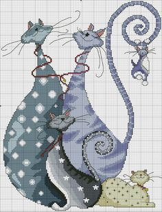 ♥ Cross-stitch Kitties... no color chart available, just use the pattern chart as your color guide... or choose your own colors