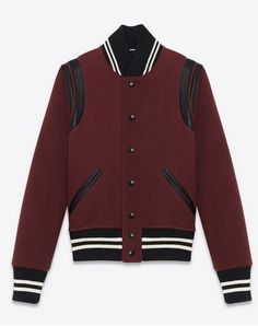 SAINT LAURENT: Teddy Jacket in Bordeaux Virgin Wool and Black Leather