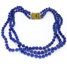 Vintage Art Deco Lapis Glass Bead Tripple Row Ornate Gold Clasp Necklace | Clarice Jewellery | Vintage Costume Jewellery