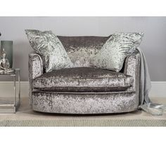 Marilyn Large Crushed Velvet Cuddle (Twister) Chair - Silver (Grey)