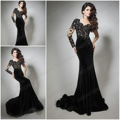 2014 New Arrival Fashion Sexy Black lace and chiffon Sheath Formal Evening dresses prom dresses Long Red carpet dresses 213C32