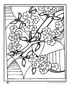cherry tree blossom coloring page | quilts - applique ... - Cherry Blossom Tree Coloring Pages