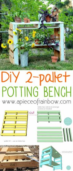 How to make a two pallet potting bench that is also a beautiful console table or craft desk! Easy and fun tutorial, just a little cutting and assembling!
