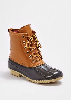 image of Tan Rubberized Lace-Up Boot