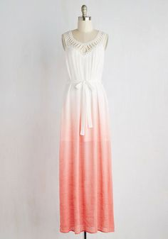 At the soiree on the sand, you're an 'ombre' of sunshine in this bright maxi dress! A flowy, crepe-textured fabric is home to a gradient of white, pink, and coral hues that are topped with an embroidered, cutout V-neckline. Cinch this frock with its self sash for a graceful look that's fit to be celebrated.