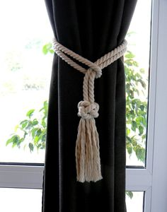 Set of 2 pcs – Diamond Knot Curtain Tie Backs Cotton Rope – Friendship Knot – Holdback Curtain TieBack – White Curtain Tie-backs Set – Diamond Knot Curtain Tie Backs Baumwollseil – Friendship Knot – Holdback Curtain TieBa Curtain Tie Backs Diy, Rope Curtain Tie Back, Rope Tie Backs, Curtain Ties, Elegant Curtains, White Curtains, Drapes Curtains, Drapery, Nautical Curtains