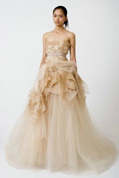 Strapless Flowers Beaded Tulle Champagne Wedding Gowns Designer