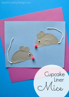 Cute mouse craft for kids made from cupcake liners.