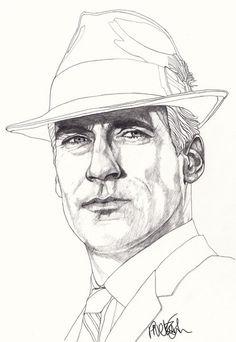 Mad Men - Don Draper - Original Signed Paul Nelson-Esch Drawing Art pencil Illustration portraiture unique decor home tv retro - Free S&H
