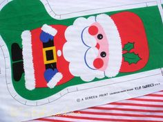 Festive SANTA Vintage Christmas Stocking. Could cut out the santa in felt and sew onto fabric