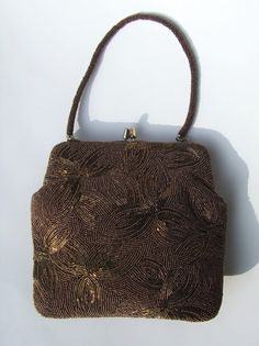 6eea1d33840ea Vintage Pretty Bronze Glass Beaded Handbag - 1960 s Top Handle Evening Purse  with Beautiful Hand Finished Intricate Beading Design