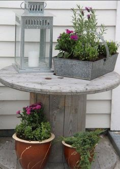 Great display for outdoor plants. Large Wooden Spools, Porch Greenhouse, Backyard, Patio, Outdoor Plants, Outdoor Entertaining, Outdoor Projects, Outdoor Life, Container Gardening
